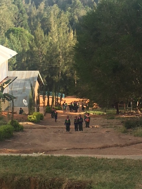 Children arriving at Rosmini Pre- and Primary School, Lushoto